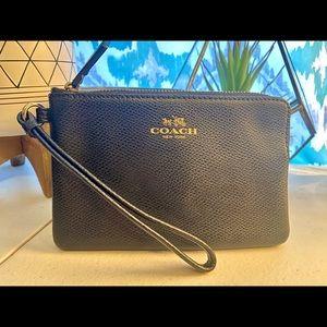 COACH black leather wristlet/ wallet